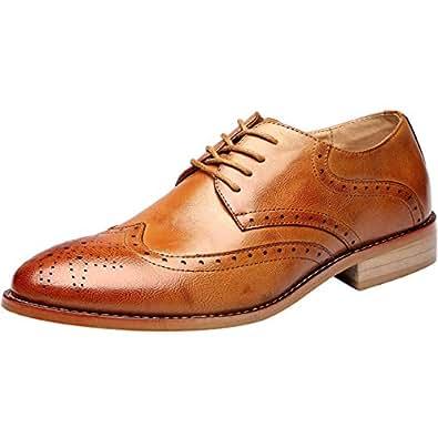 02744919f5b wealsex Homme Brogue Oxford Derby PU Cuir Chaussures de Ville à ...