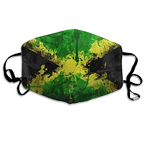 Fashion Outdoor Mouth Mask with Design, Reusable Half Face Mask Anti-dust Mask, Adjustable Mouth Masks for Dust, Unisex Jamaica Flag Windproof Face Mask Filters Flu Germs for Men Women - Indoor-flag-kit
