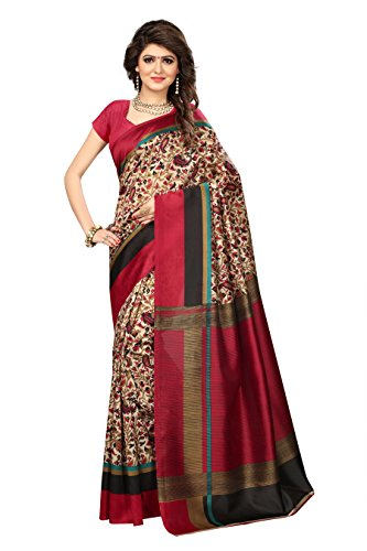 Rangreza Mysore kalamkari Silk beige and maroon floral printed saree with multicolor pallu. (PGZSAREE234)  available at amazon for Rs.498