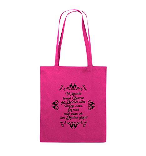 Comedy Bags - Ich brauchen keinen Prinzen der Drachen tötet - Jutebeutel - lange Henkel - 38x42cm - Farbe: Schwarz / Silber Pink / Schwarz