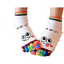 Zarupeng ♥♥Lady Women Girls sonrisa cinco dedos entrenador dedo del pie tobillo calcetines deporte
