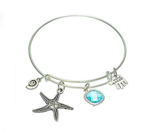 gudeke Legierung Palm Schnecke, Seestern Star blau Zirkon Armreif Armband, verstellbar -