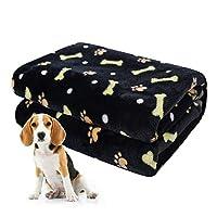 softan Fluffy Pet Dog Blanket, Warm and Soft Fleece Pet Throw for Small Medium Large Dog, Washable Puppy Blanket, 60 × 80cm, Black