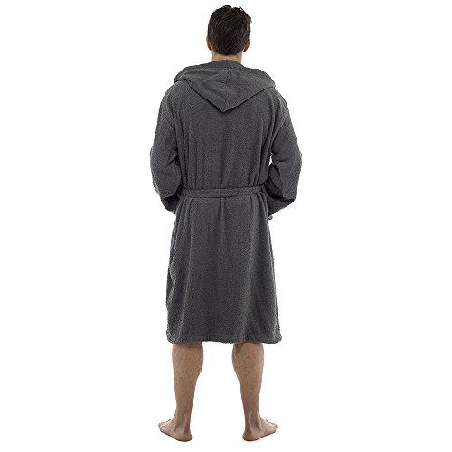 Herren-Frottee-Bademantel, aus 100% Baumwolle, mit Kapuze, Schalkragen, perfekt für Gym, Dusche, Spa, Hotel, Urlaub Grau