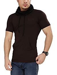 Tees Collection Men's Cotton Half Sleeve Black Color Hooded T-Shirt