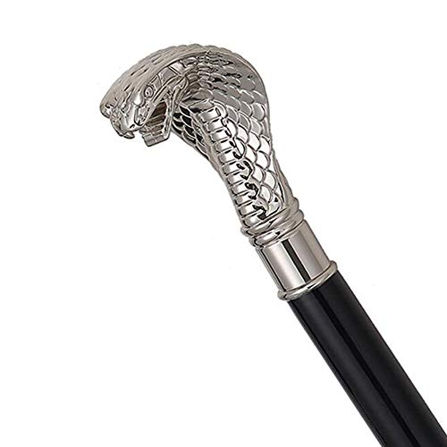 ZY Langer Griff Golf Regenschirm Tierkopf Griff, Extra Große Persönlichkeit für Männer und Frauen Doppel Regenschirme Komfortabel und Schön,Silver,Snake