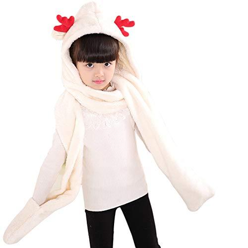 Schal Mehrzweck,iSpchen Hüte Schal Handschuhe Korallen Fleece Dicke Warme 3 in 1 Set,Eltern Kind Schal Hut Handschuhe Set Weiß