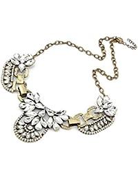 Collar - SODIAL(R)Mujer cluster de cristal -cadena - Collar retro oro - Collar de declaracion del babero de la burbuja Bronce
