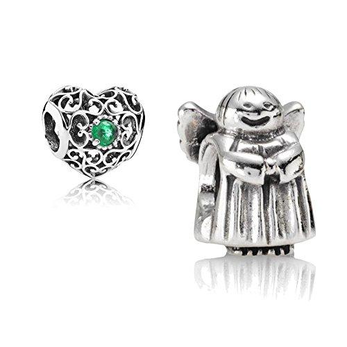 [A] Original Pandora Geschenkset - 1 Silber Charm 790337 Engel + 1 Silber Charm 791784NRG Mai-Herz