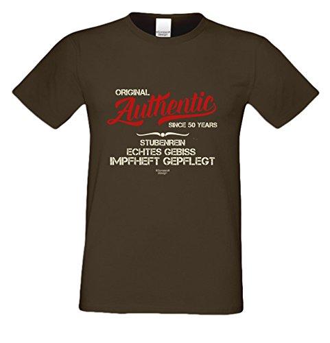 Geschenk zum 50. Geburtstag :-: T-Shirt als Geschenkidee :-: Authentic Since 50 Years :-: Geburtstagsgeschenk für Sie und Ihn Mama Papa Mutter Vater :-: auch Übergrößen Farbe: braun Braun