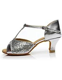 Hebilla de Correa de Tacón Alto para Mujer Zapatos de Baile Latino  Sandalias Zapatos de Baile 2f20132de64f
