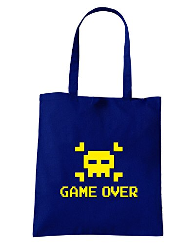 T-Shirtshock - Borsa Shopping T0281 game over old skull vintage Blu Navy