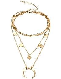 Romote Collar Gargantilla Collar de múltiples Capas con Colgante Luna patrón Gargantilla Collar para Damas