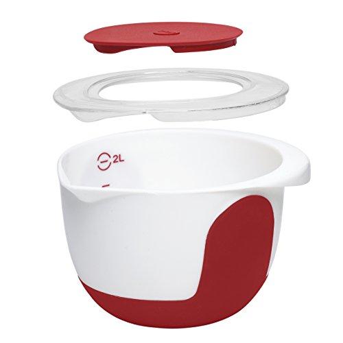 Emsa Mix & Bake Ciotola per Miscelare con Coperchio, 2L, Plastica, Bianco/Rosso