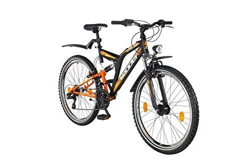 tretwerk DIREKT gute Räder Mountainbike Leader Chicago Street ATB 26 Zoll Schwarz/Orange, Jugend-Fahrrad, Herren-Fahrrad -