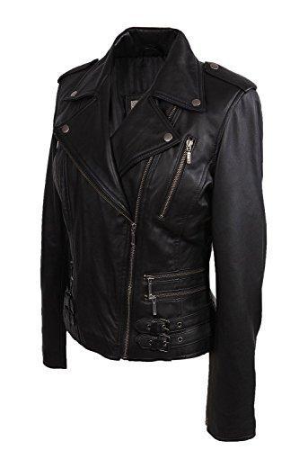 Damen Frauen 100% Echtes Leder Bikerjacke Schwarz Ausgestattet Bikers Stil Vintage Rock Schwarz
