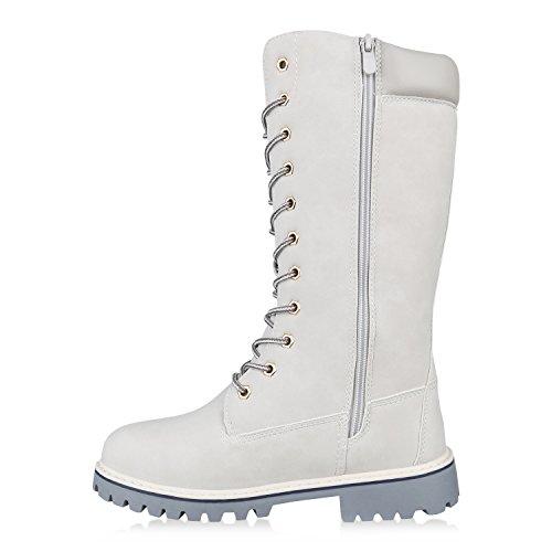 Stiefelparadies Damen Worker Boots Profilsohle Schnürstiefel Karneval Stiefel Fasching Kostüm US Army Soldat Military Boots Flandell Hellgrau Carlet