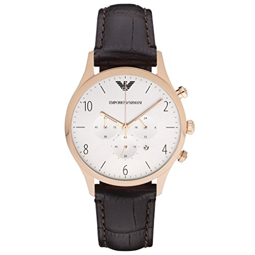Emporio Armani AR1916 Chronograph Gold Plated Watch Men's Watch Leather Strap 5 Bar Analog Chrono Date Brown