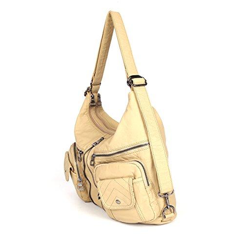 21KBARCELONA  Top con zip multi tasche Borse Lavato Borse borse in pelle zaino tracolla XS160989 Beige