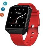 GPS Smart Watch Fitness-Tracker-Pulsmesser Monitor SMS rufen intelligente Erinnerung an Bluetooth Positionierung IP68 wasserdicht, geeignet für iOS Android-Telefon,Red