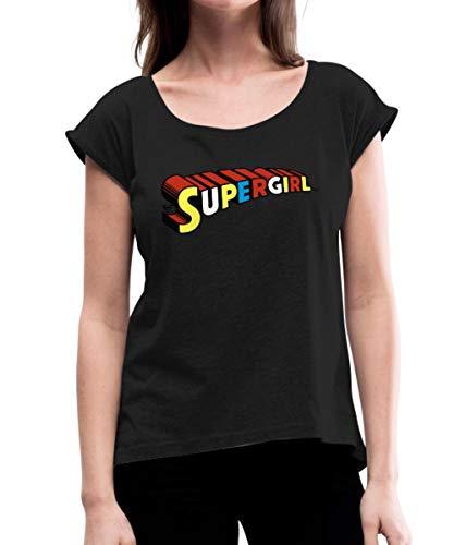 s Supergirl Schriftzug Logo Frauen T-Shirt mit gerollten Ärmeln, M (38), Schwarz ()