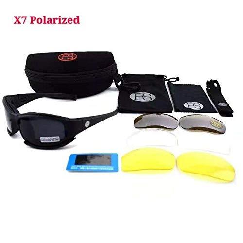 IYOUTHTIME Herren Taktische Sonnenbrille X7 C5 Sport polarisierte Gläser Militär Airsoft Brille 4 Gläser Wanderbrille - blau