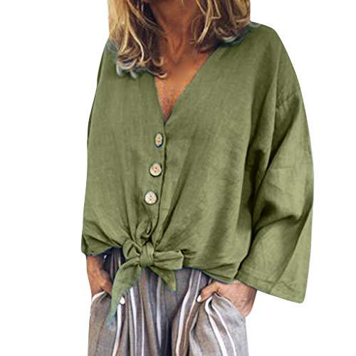 LILICAT_Shirt Damen Baumwoll Leinen Tunika T-Shirt Oberseiten Sommer Freizeit Knopf Hemden Outdoor Sportswear Shirts Einfarbig Elegant Tops Loose Bluse