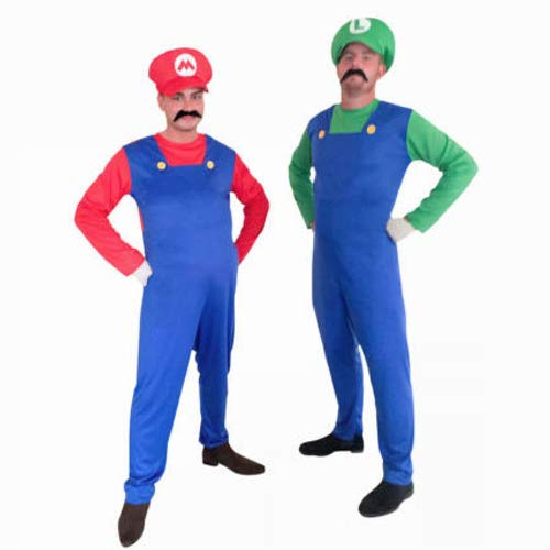 Low Cost Adult Super Mario and Luigi Costumes - Jumpsuit and Hat