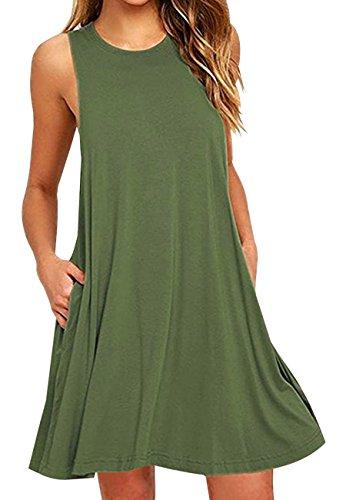 OMZIN Damen Trägershirt Basic Tank Tops Ohne Arm Loose Longshirt mit Taschen Strandkleid Armeegrün XL -