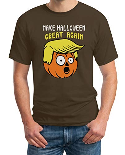 Make Halloween Great Again Kürbis Gesicht Halloweenkostüm Shirt Herren T-Shirt Medium Braun
