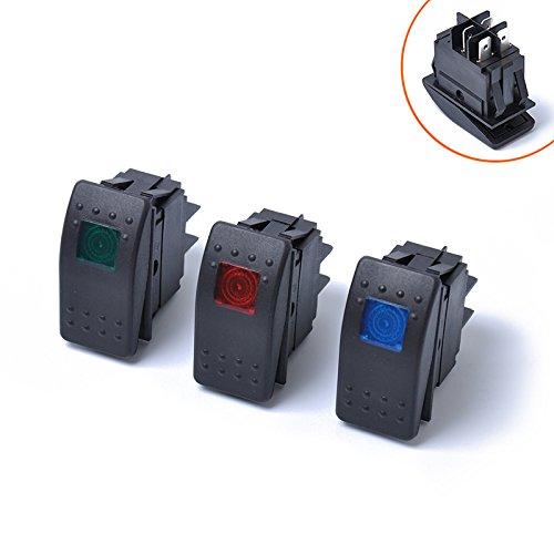 BEESCLOVER - Interruptor de luz LED de 4 Pines, Impermeable, 12 V,...