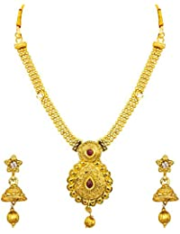 Om Jewells Antique Gold Plated Round Pendant With Ball Chain Choker Necklace And Traditional Ethnic Jhumki Earrings...