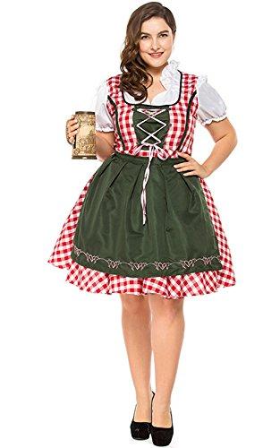 Perfectii Damen Trachtenkleid Dirndl Set Große Größe Oktoberfest Kleider Kostüm Midi Kleider Trachten Dame Halloween Cosplay Maid Kostüm