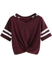 Oberteile Frauen Sommer, Ulanda Teenager Mädchen Mode Crop Top Sport V-Ausschnitt Shirt Bluse Damen Casual Rose Stickerei Kurzarm T-Shirts Hemd Tops Pullover Sale