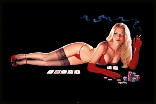HUGE LAMINATED / ENCAPSULATED Hildebrandt Sexy Poker Girl POSTER measures 36 x 24 inches (91.5 x 61cm) (Hildebrandt Poster)