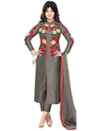 AnK Women's Cotton Embroidered Semi-Stitched Salwar Suit (Coffee)