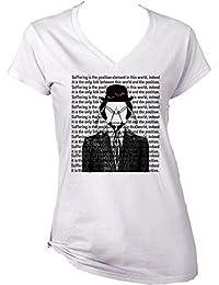 Teesquare1st Women's FRANZ KAFKA - SUFFERING White T-Shirt