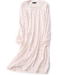 Mmllse Star Lapin en Coton Chemise De Nuit Femme Automne À Manches Longues Jolie  Fille Robe 0cb36ee03a5