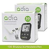 Adia Blutzuckerteststreifen, 100 Stück, für das Adia Blutzuckermessgerät -...