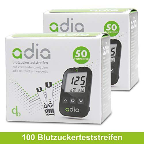 adia Blutzuckerteststreifen, 100 Stück, für das adia Blutzuckermessgerät - zur Kontrolle des Blutzuckers bei Diabetes