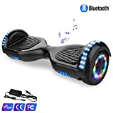 WATSON 6,5zoll Hoverboard Elektro Scooter Self Balance Board, EU Sicherheitsstandard, Bluetooth, LED Model EL-ES01 (Schwarz-LED)