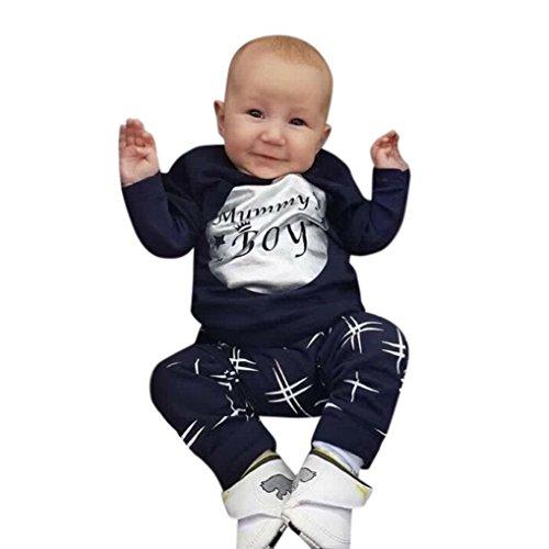 Neugeborenen Baby Unisex Bekleidung Set Longra Baby Hosen & Sweatshirt Sets für Mädchen Jungen brief Langarmshirt + Hosen+lätzchen 2018 Babykleidung Set (100CM 24Monate, Dark Blue)