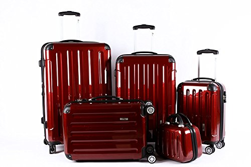 5 Teiliges Kofferset M L XL XXL + Beautycase Polycarbonat/ABS Trolley Koffer Bordcase Set Hartschale Reisekoffer Kofferset TSA Schloss (Rot)
