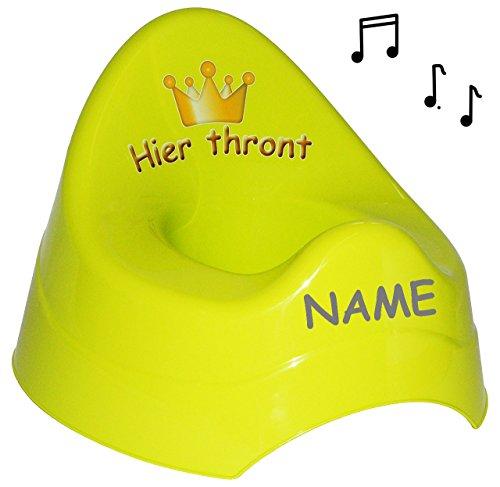 Unbekannt Töpfchen / Nachttopf - mit Musik / Sound -  Hier thront  - groß - GRÜN - mit großer Lehne + Spritzschutz incl. Namen - Krone für Prinzen & Prinzessinnen - M..