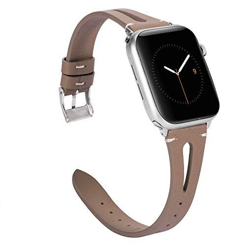 Wearlizer für Apple Watch 38mm Armband Leder, Echtleder X Band für iWatch Straps Ersatz Lederarmband 38mm 40mm für Apple Watch Series 4 3 2 1 - Tan