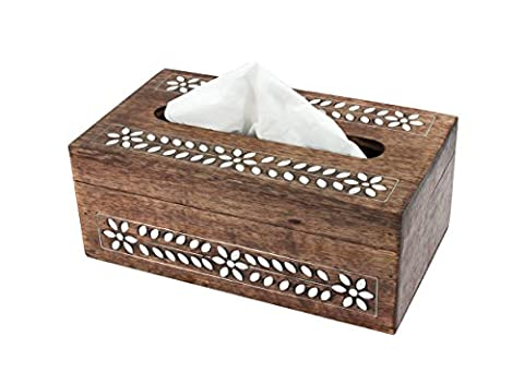 Wooden Tissue Holder Box Cover Holder With Floral Resin Inlay