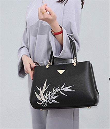 Xinmaoyuan Borse donna ricamo Lady Borsa tracolla a doppia sacca tuta Nero