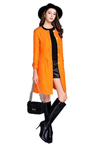 GBT - Reine Baumwolle Und Leinen Trenchcoat,Orange,S (Haustiere Tommy Hilfiger)