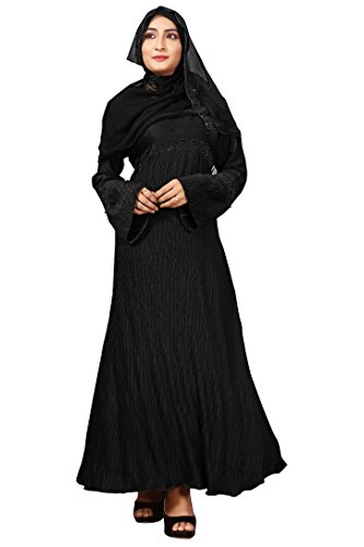 Justkartit Stylish Women's Imported Nida Crush Abaya Burkha With Hijab Dupatta (Eid...