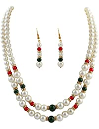 Classique Designer Silver Alloy With Gold Plated Round Pearl Necklace Set For Women(CP310)